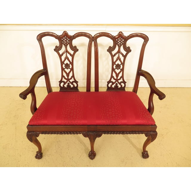 Item: Chippendale Mahogany Settee Bench Age: Approx: 20 Years Old Details: Solid Mahogany Ball & Claw Feet Nice Carved...