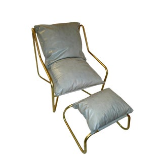 Chrome Sling Chair & Ottoman For Sale