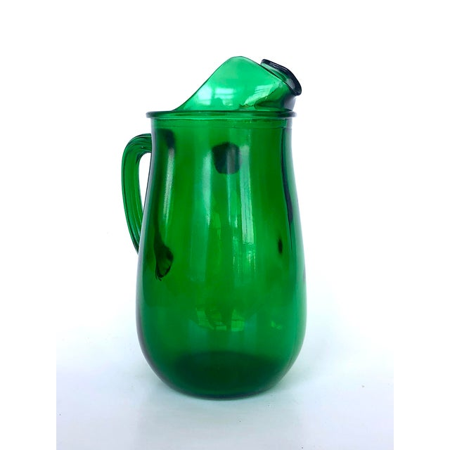 Anchor Hocking Vintage Anchor Hocking Forest Green Glass Pitcher For Sale - Image 4 of 12