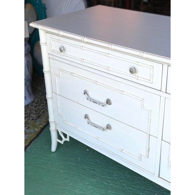 White Vintage Thomasville Faux Bamboo Six Drawer Dresser For Sale - Image 8 of 12