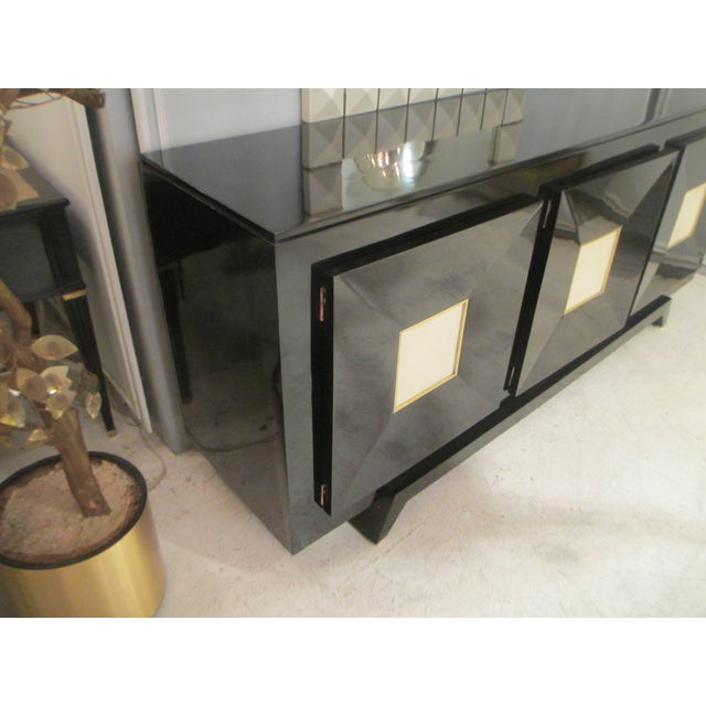 French Ebonized Sideboard with Parchment Doors For Sale - Image 9 of 13