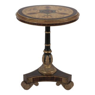 Vintage Regency Style Faux Rosewood Round Center Table For Sale