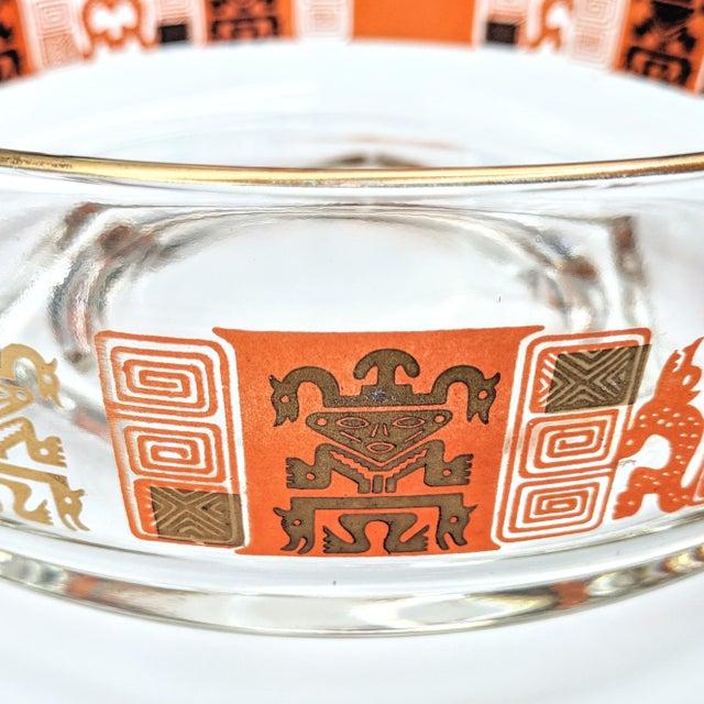 Orange & Gold Mid-Century Mayan Motif Candy Bowl - Image 4 of 5