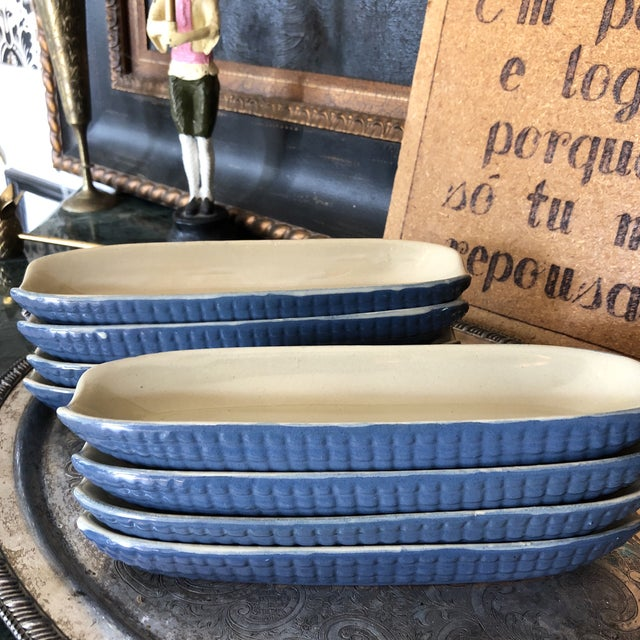 1970s Blue Ceramic Corn Dishes - Set of 8 For Sale In Atlanta - Image 6 of 8