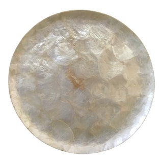 White Capiz Shell Round Tray