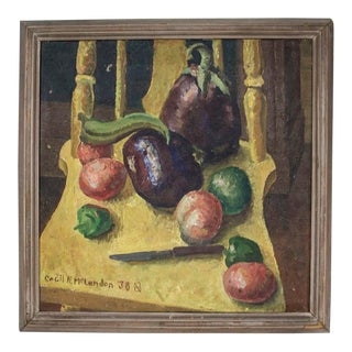 1930s Still Life Oil Painting, Signed For Sale