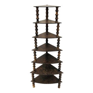 Antique Folk Art Wooden Spindle Corner Shelf For Sale