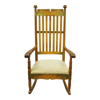 1900s Antique Victorian Oak Wood Arts & Crafts Rocker Rocking Chair For Sale