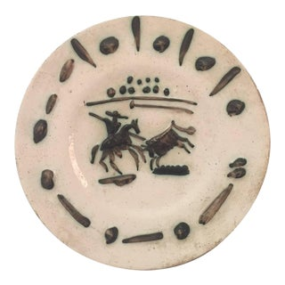 Pablo Picasso and Madoura Picador Ceramic Plate, Stamped and Marked Edition For Sale