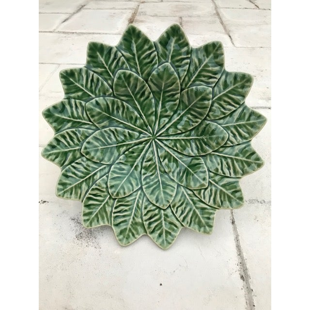 Late 20th Century 20th Century Bordallo Pinheiro Green Leaf Majolica Plate For Sale - Image 5 of 5