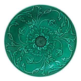 Green Majolica Daisies Plate, Saint Clement Circa 1890 For Sale