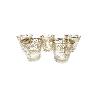 Vintage Mid Century Small Rocks Glasses With an Ultra-Glamorous Metallic Gold Speckled Pattern - Set of 5 For Sale