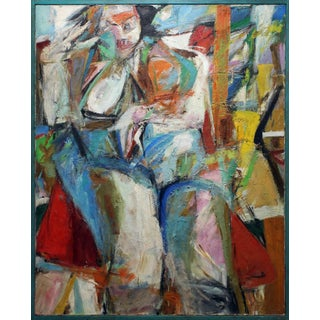 "1970s Vintage ""Seated Woman"" Abstract Expressionist Oil Painting For Sale"