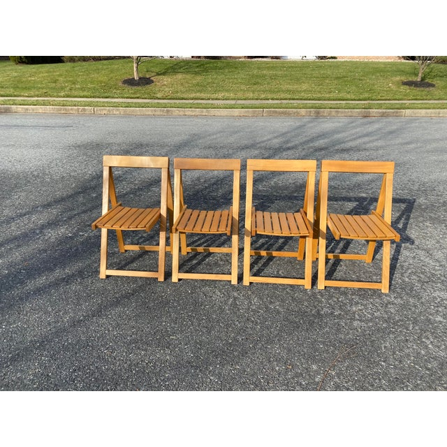 Vintage Maple Folding Chairs - Set of 4 For Sale - Image 11 of 11