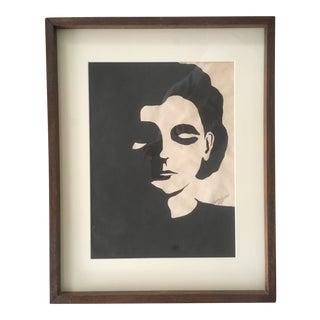 1960s Vintage Black and White Portrait Lithograph Print For Sale