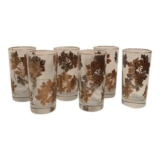 Golden Leaf Cocktail Glasses - Set of 6 For Sale