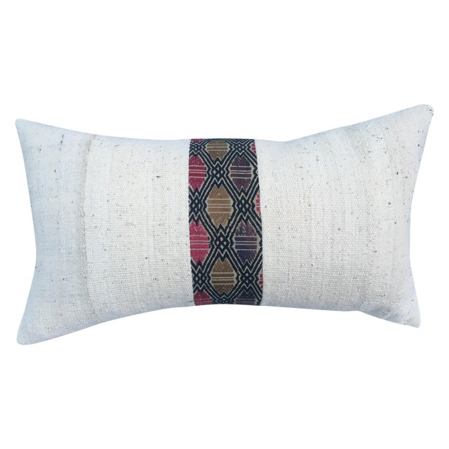 African Mud Cloth Pillow with Tribal Inset - Image 1 of 4