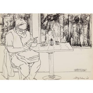 Pasquale Patrick Stigliani Portrait of a Man Reading, Ink on Paper Drawing, 1981 1981 For Sale