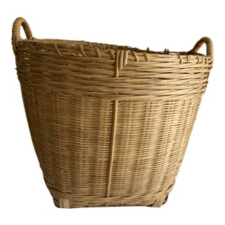 Rustic Farmhouse Natural Wood Basket For Sale