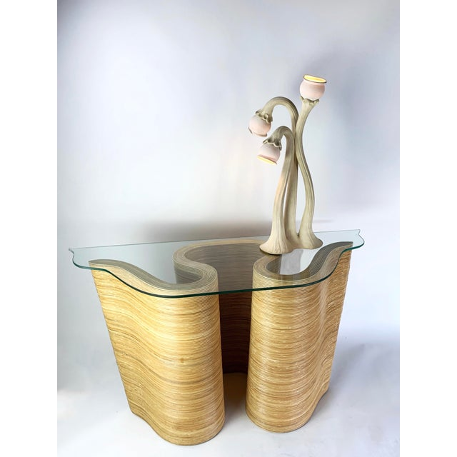Contemporary Pencil Reed Bamboo Curvy Ribbon Scroll Console Aft Gabriella Crespi For Sale - Image 3 of 13