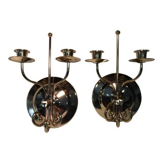Vintage Brass Double Candle Wall Sconces - a Pair For Sale