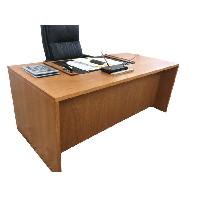 Beautiful Danish Modern Teak Executive Desk. Neutral Tones brighten up your office in a modern way with this custom made...