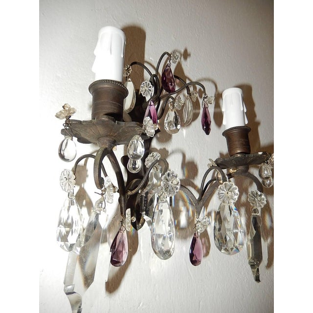 French Burnished Brass Amethyst and Clear Crystal Prisms Sconces For Sale - Image 10 of 11