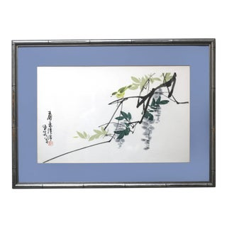 Vintage Framed Wisteria and Bird Watercolor Painting For Sale