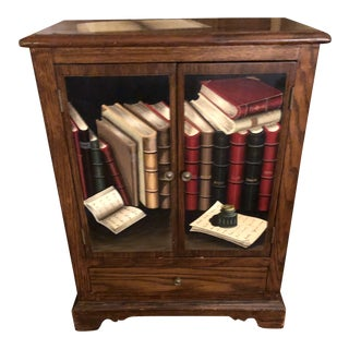 Georgian Style Trompe L'Oeil Hinged Bar Cabinet With Drawer For Sale
