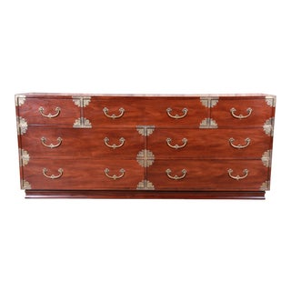 Henredon Hollywood Regency Chinoiserie Mahogany and Brass Long Dresser or Credenza For Sale