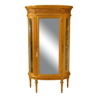 Italian Gold Gilt Beveled Bow Glass Vitrine Curio Cabinet For Sale
