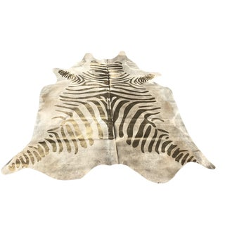 Contemporary Devore Zebra Metallic Gold & Beige Cowhide Rug