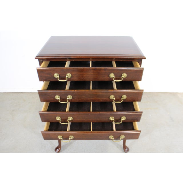 Vintage Chippendale Statton Attributed Old Town Cherry Silver Chest For Sale In Philadelphia - Image 6 of 13