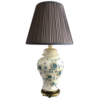 Blue and White Floral Porcelain Ginger Jar Table Lamp For Sale