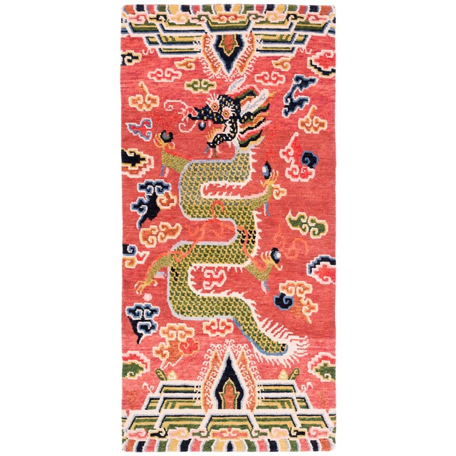Salmon Salmon Pink, Red, Green, and Blue Wool Tibetan Dragon Area Rug For Sale - Image 8 of 8