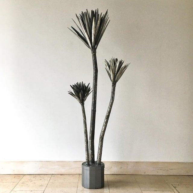 Metal Metal Palm Tree Floor Standing Sculpture 1970's For Sale - Image 7 of 7