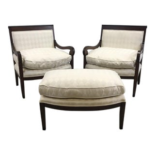 White Argyle Chairs and Ottoman Set - Set of 3