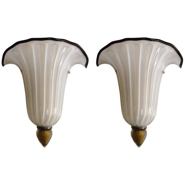 Gold Pair of Shell Sconces by Barovier E Toso For Sale - Image 8 of 8