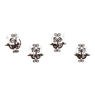 Set of 4 Antique Painted Wrought Iron Electrified Wall Sconces For Sale