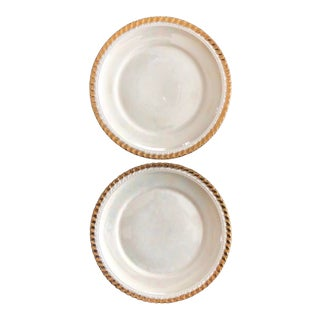 1950s Pearl China Co. 22kt Gold Iridescent Plates- Set of 2 For Sale