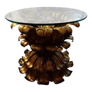 Vintage Italian Gilt Iron Plume Table With Glass Top For Sale