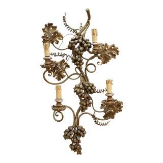 Italian Hollywood Regency Florentine Grape Wall Sconce For Sale