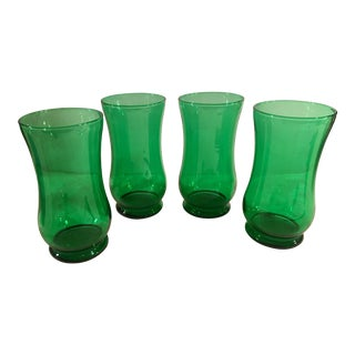 Mid-Century Green Footed Tumblers - Set of 4 For Sale