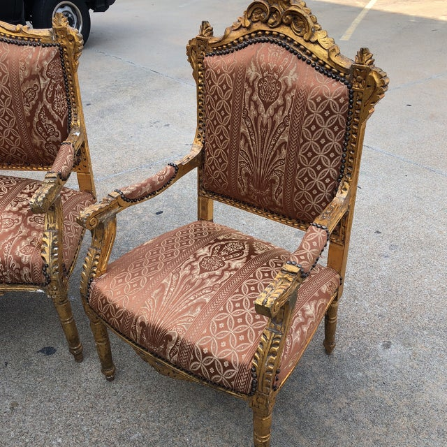 Textile 1930s Vintage Imperial Gilded French Sofa and Chairs - Set of 3 For Sale - Image 7 of 11