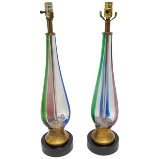 1970s Murano Glass Table Lamps - Blue Pink Green Stripes - a Pair For Sale