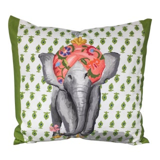 Dana Gibson Green and White Elephant Pillow