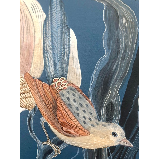 """2020s """"Look No Feather"""" Contemporary Chinoiserie Bird Acrylic Painting by Allison Cosmos For Sale - Image 5 of 7"""
