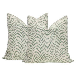 "22"" Olive Flamestitch Pillows - a Pair For Sale"