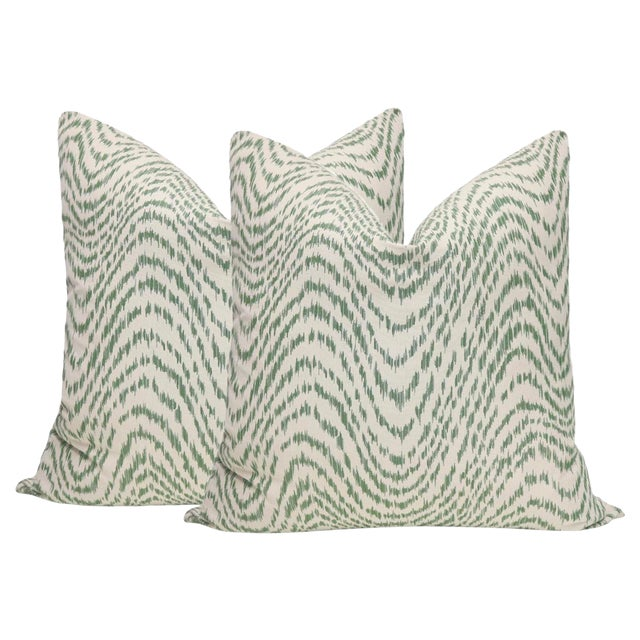 """22"""" Olive Flamestitch Pillows - a Pair For Sale"""