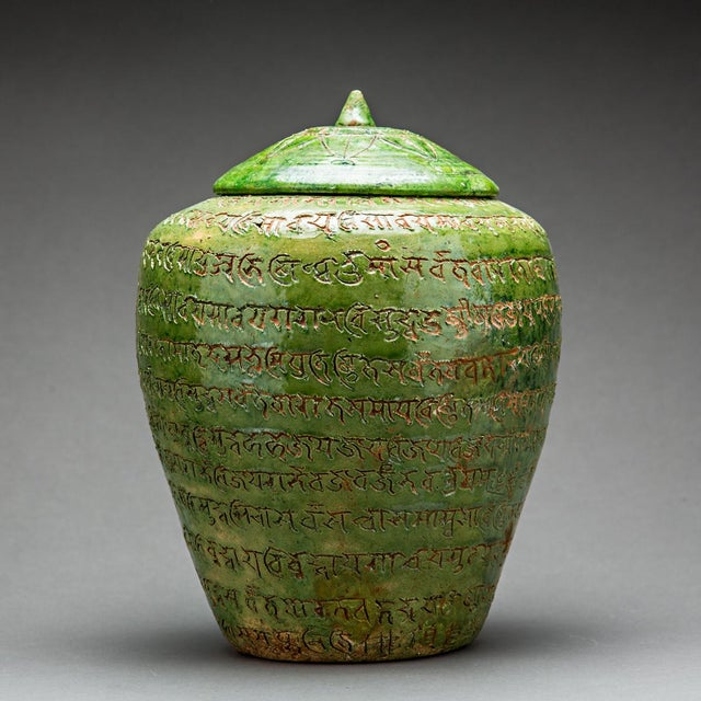 Green-glazed Buddhist Reliquary With Sanskrit Inscriptions For Sale - Image 4 of 4